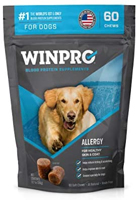 WINPRO All-Natural Allergy Relief Soft Chews for Dogs with Itchy, Scratchy Skin | Blood Protein Supplement for Healthy Skin and Coat, Made in USA, Grain Free, Member of NASC 313