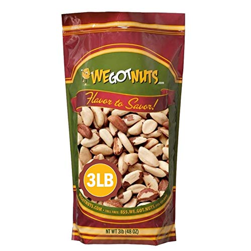 Raw Brazil Nuts- 3 Pounds,(48oz) Superior To Organic - Natural, Whole, Unsalted, Shelled , No Preservatives, Kosher Certified- Natural, Fresh, Healthy Diet Snacks for Kids and Adults-by We Got Nuts 1